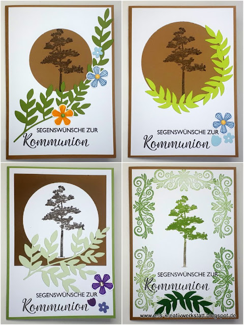 Kommunionkarten mit Baum und Blättern Stampin' Up! www.eris-kreativwerkstatt.blogspot.de