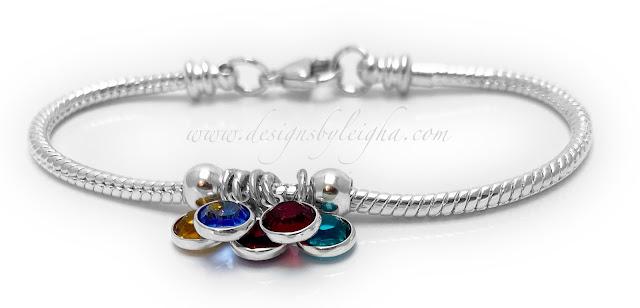 Birthstone Bracelet with 5 Birthstones November, September, January, July and December