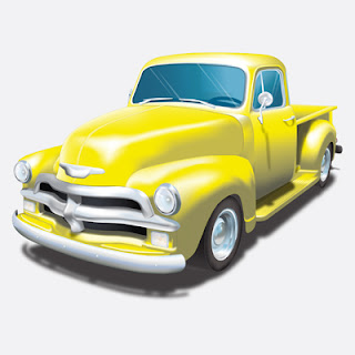 Illustration of Yellow 54 Chevy Pickup