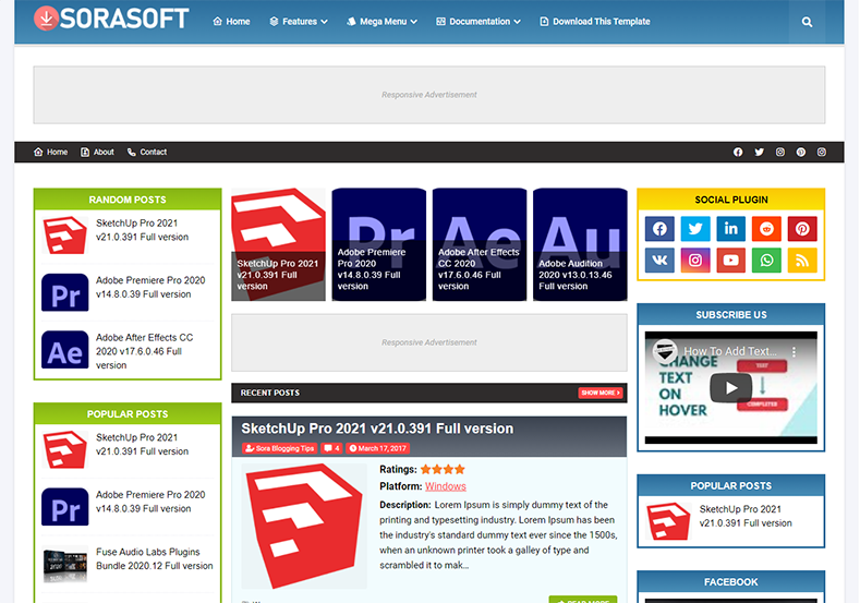 SoraSoft Blogger Template