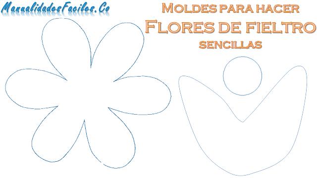 moldes para hacer las flores sencillas con fieltro