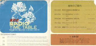 1978年6月RCCラジオタイムテーブル