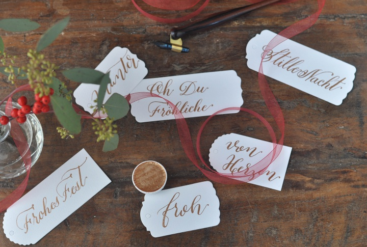 DIY Calligraphy Gift Tags with Christmas songs, vintage style