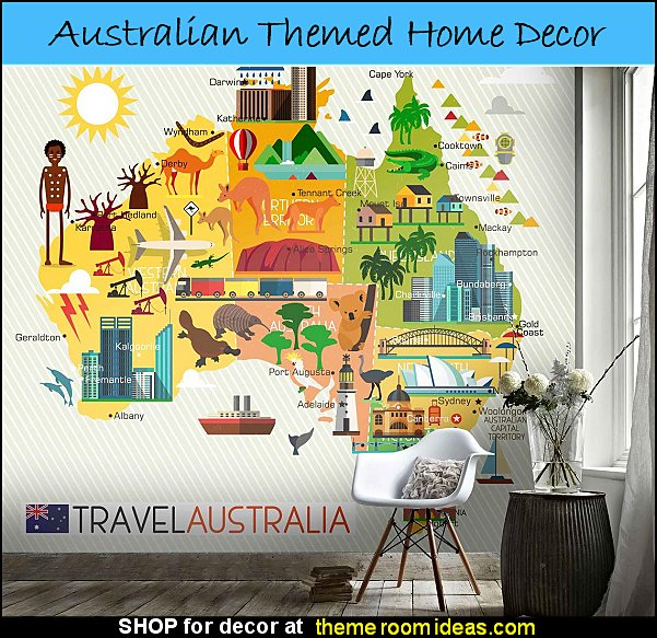 Colorful Travel Australia Map Wallpaper Mural  australian themed decorating