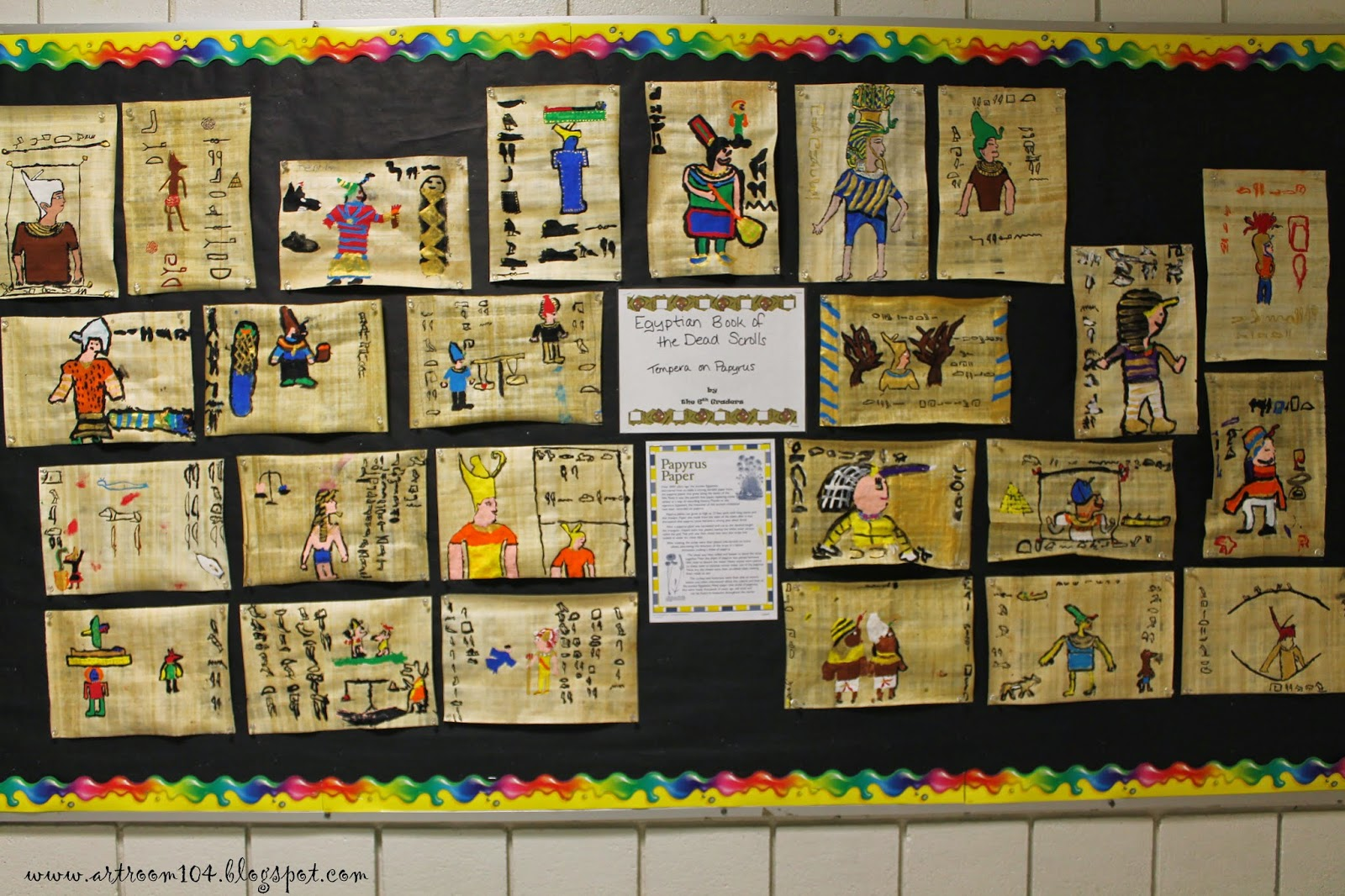 Art Room 104 6th Grade Egyptian Papyrus Book Of The Dead