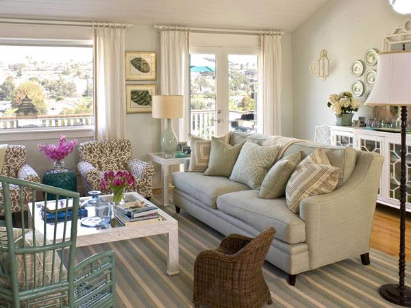 New Home Interior Design: Blue Living Room