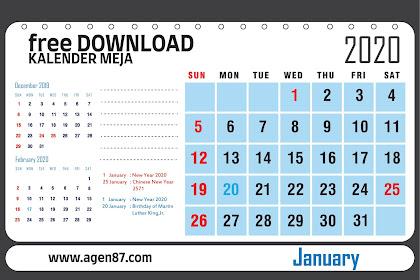 Template Desain Kalender Meja Tahun 2020 - Cocok Buat Perusahaan - Perusahaan