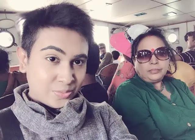Sandy Saha with his mother