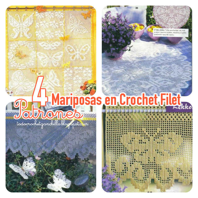 patrones de mariposas crochet filet