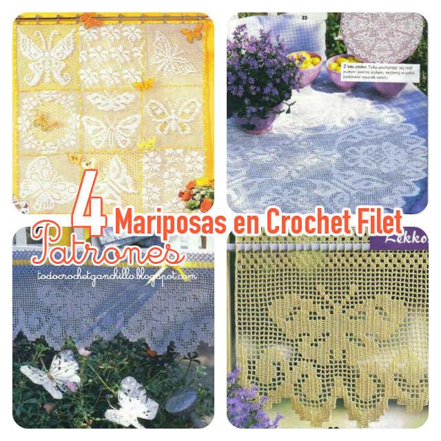 Mariposas en tu cocina / 4 patrones para mantel y cortinas | Todo ...