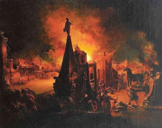Иоганн Георг Траутманн. Сожжение Трои.