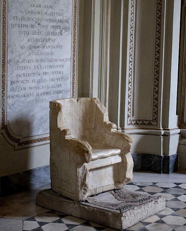 São Gregório Magno, seu trono na abadia de Monte Celio