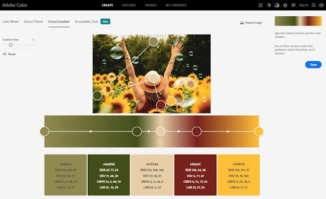cream red yellow green sunflower color palette from Adobe image gradient