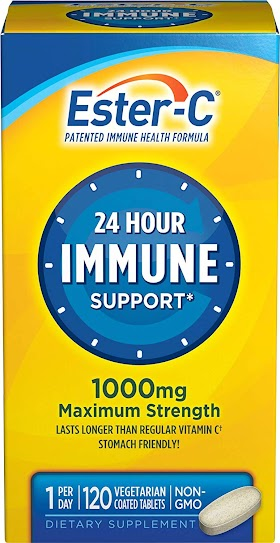Ester-C Vitamin C 1000 mg Coated Tablets, 120 Count, Immune System Booster, Stomach-Friendly Supplement, Gluten-Free by Nature's Bounty $18.06