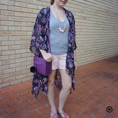 awayfromblue instagram | Target Karolina summer kimono in purple black floral grey tee blush pink pastel shorts purple mini mab bag