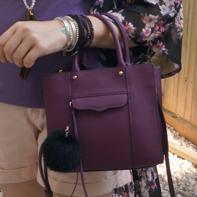 bracelet stack with Rebecca Minkoff mini MAB tote in plum | away from the blue