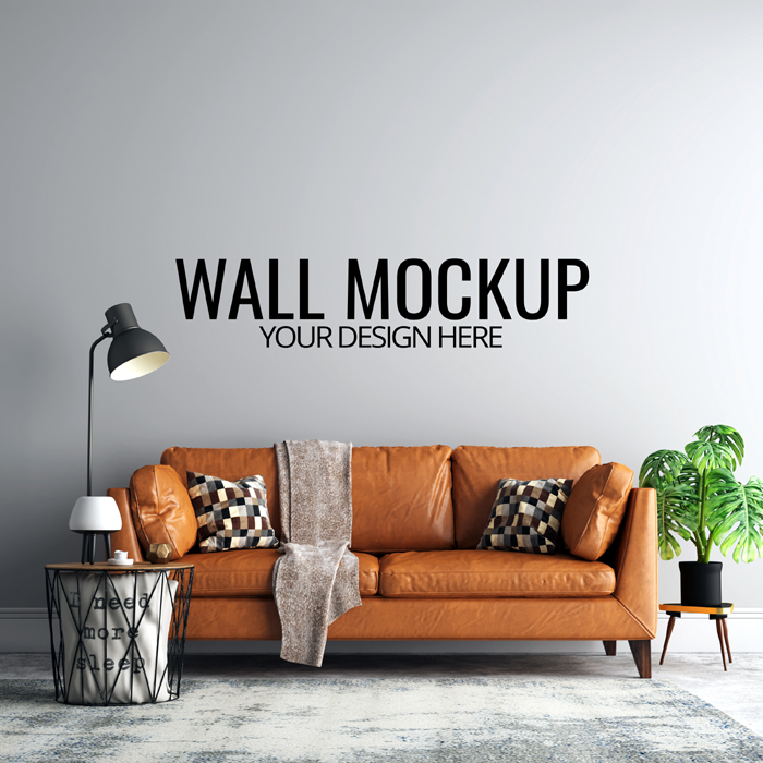 Interior Living Room Wall Background Mockup With Furniture Decoration