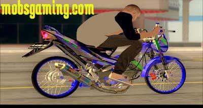 Mod Skin Motor Satria FU Valen Biru