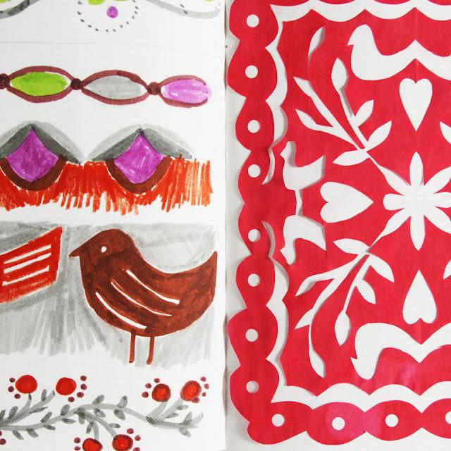 2x2, 2x2 Sketchbook, #2x2sketchbook, sketchbooks, collaboration, artist collaborations, cut paper, pattern design, Anne Butera, Dana Barbieri