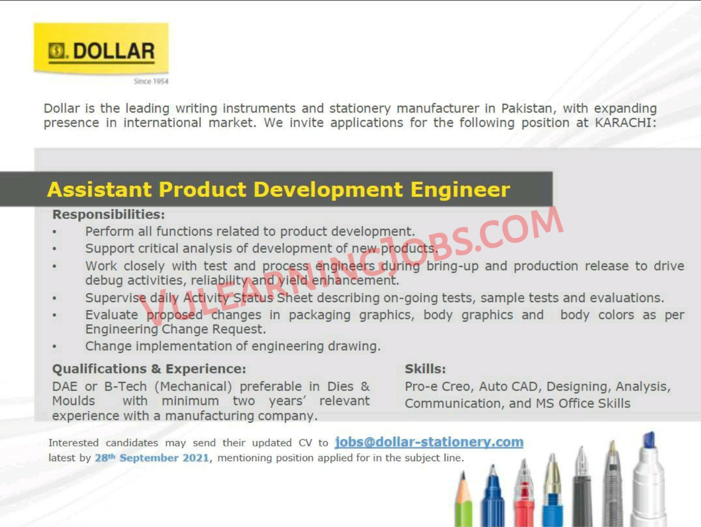 Dollar Industries PVT Limited Jobs September 2021 For Assistant Product Development Engineer Latest