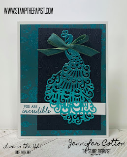 This Royal Peacock card uses lots of retiring Stampin' Up! products (Royal Peacock set, Detailed Peacock Dies, Noble Peacock designer paper & foil)!  Get them by June 2, 2020!  Details on the blog.  #StampTherapist #StampinUp