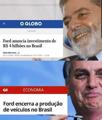 Meme com Lula e Bolsonaro sobre fechamento das fábricas da Ford