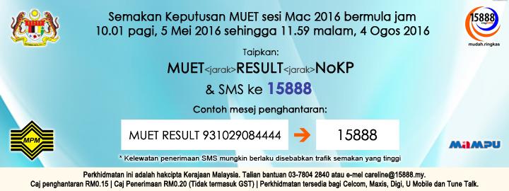 semak Keputusan MUET mac 2016 sms