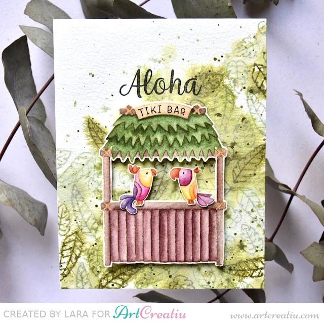 Sunny Studio Stamps: Tiki Time Customer Card by Lara Fernandez