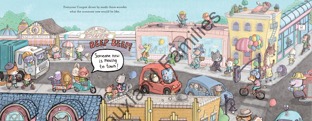 A busy city scene shows the woodland creatures of Cubby Hill in the Welcome Wagon by Cori Doerrfeld