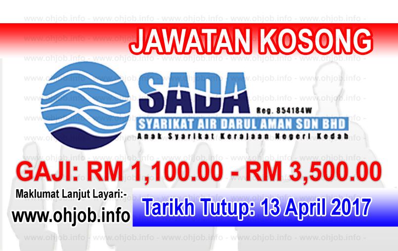 Jawatan Kerja Kosong SADA - Syarikat Air Darul Aman logo www.ohjob.info april 2017