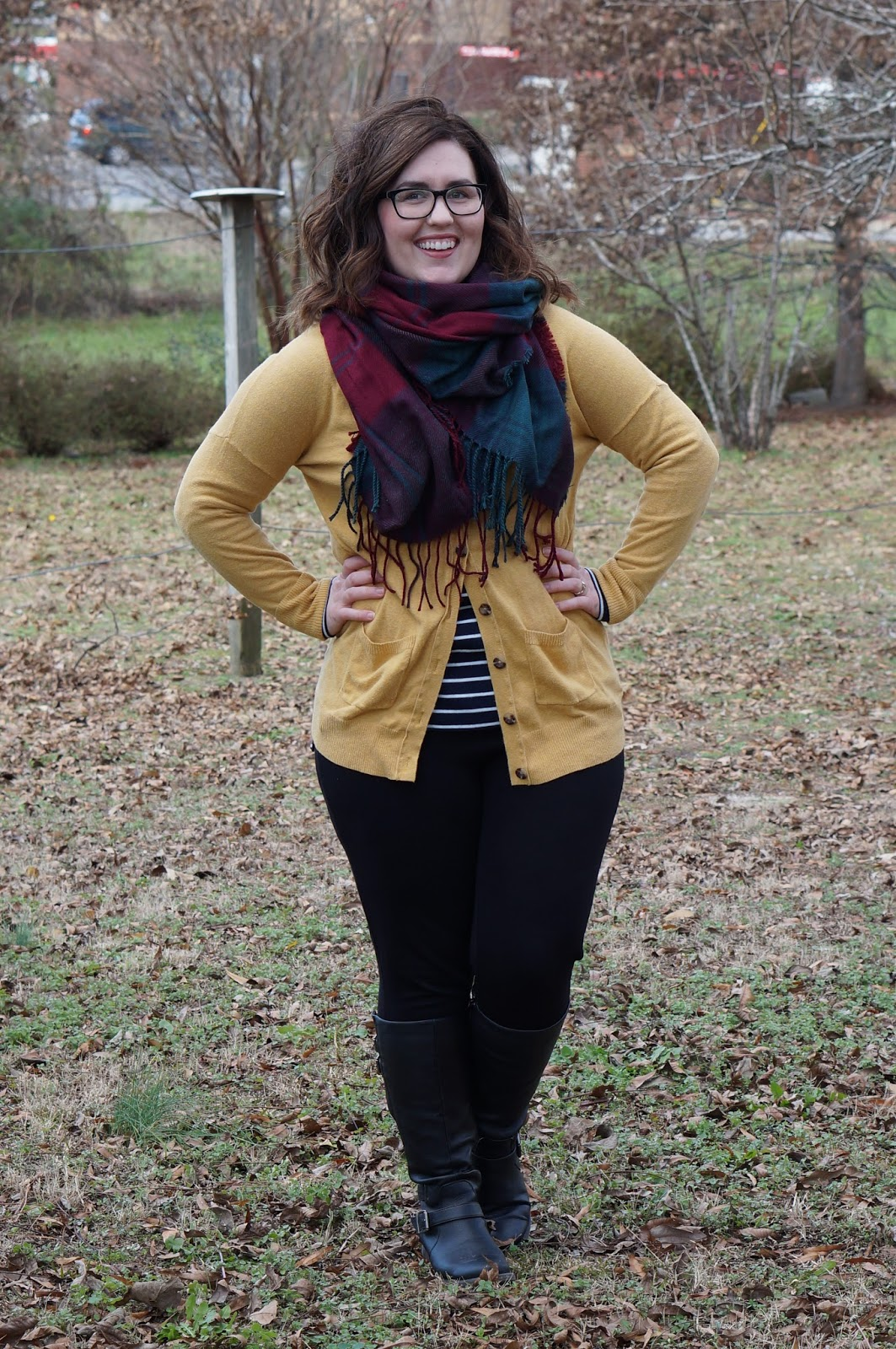 Rebecca Lately Stitch Fix Brixon Ivy Top J. Crew Pixie Pants Mustard Cardigan Zaful Double Plaid Scarf Bare Traps Sebastian