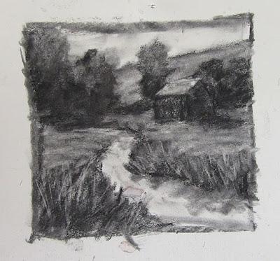 rural landscape square charcoal sketch