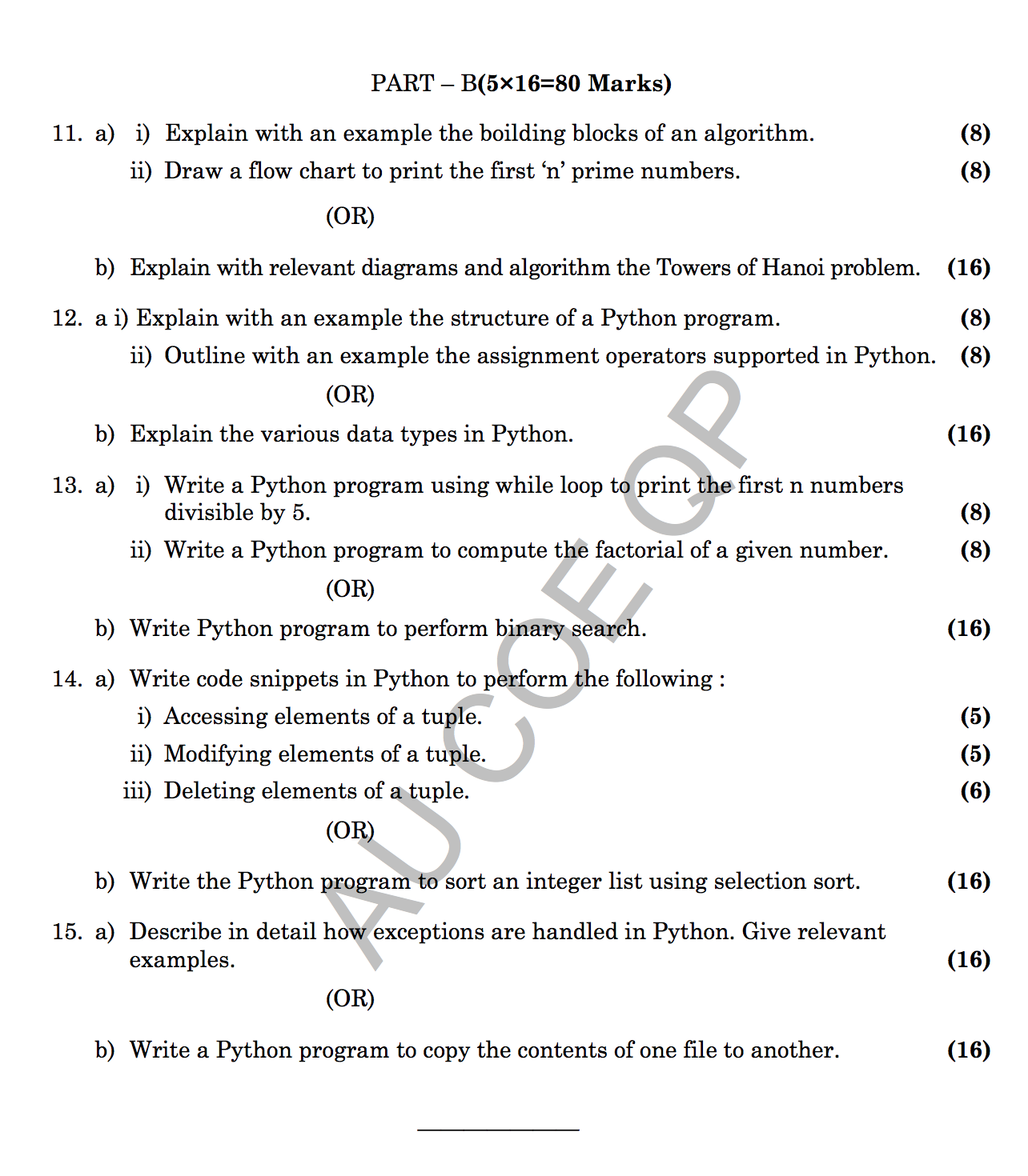 GE8151: Problem Solving and Python Programming Question Papers