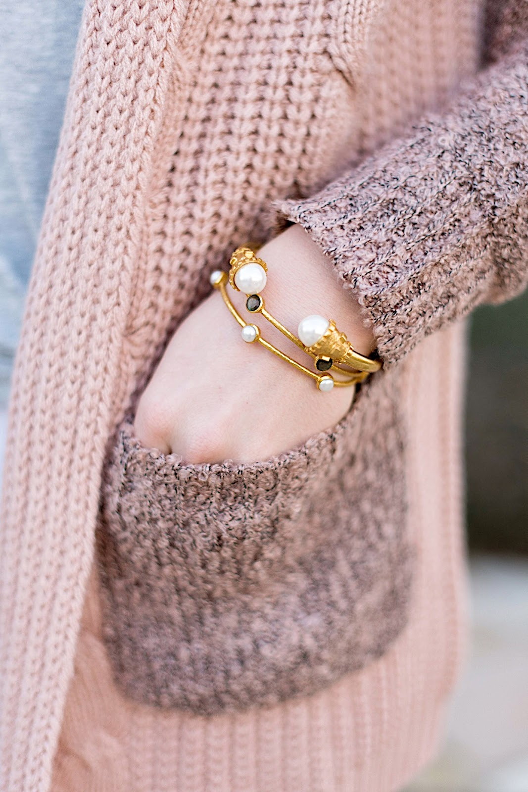 Mix Knit Cardigan & Julie Vos Bangles - Click through for the full post on Something Delightful Blog!
