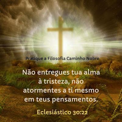 Não entregues tua alma à tristeza, não atormentes a ti mesmo em teus pensamentos. Eclesiástico 30:22  Pratique a Filosofia Caminho Nobre