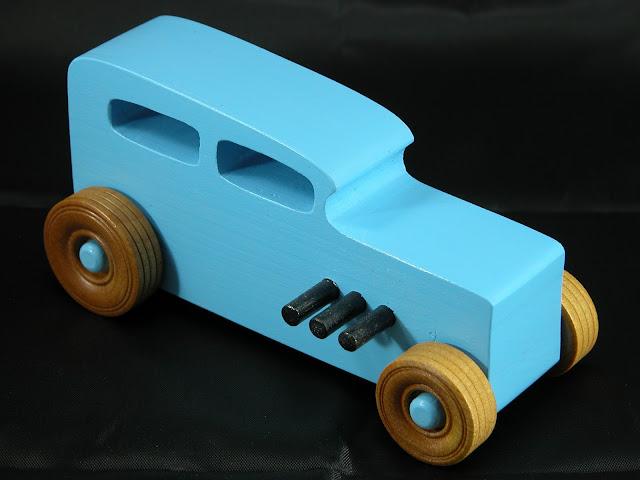 20171023-180249 - Wooden Toy Car - Hotrod Freaky Ford - Pine - Blue - Shellac Wheels- Custom Order