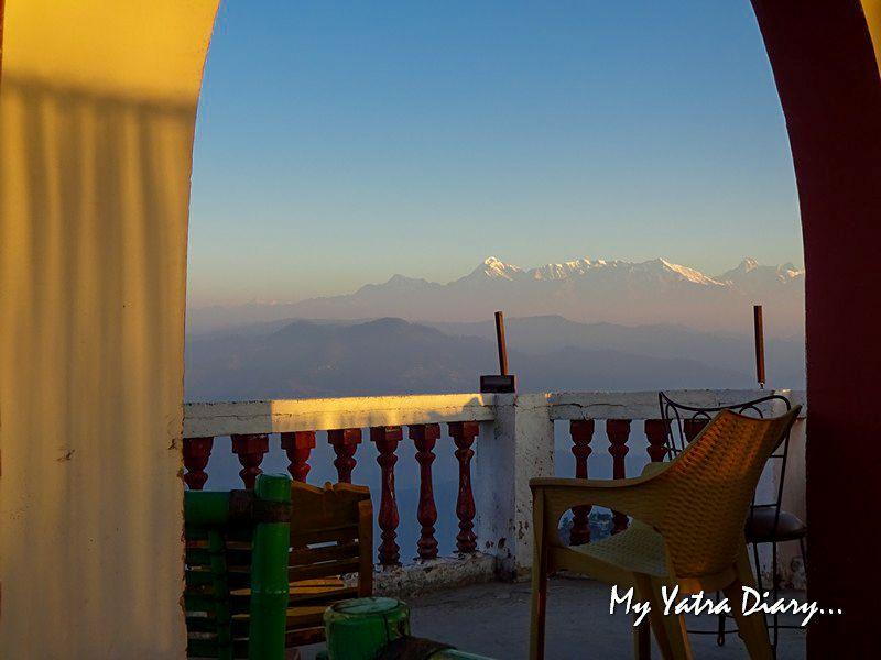 Himalayan peaks sunrise at Alhito cafe, Kasar Devi Uttarakhand