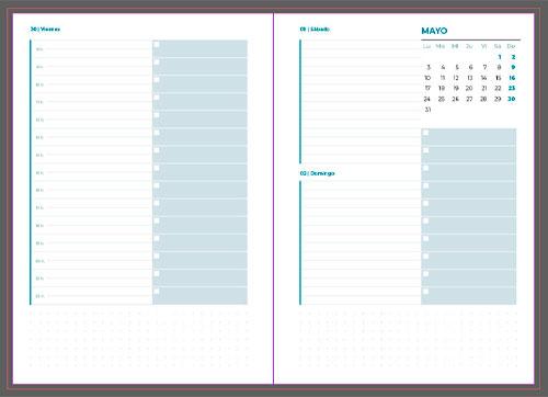 Interior de Agenda diaria para imprimir gratis