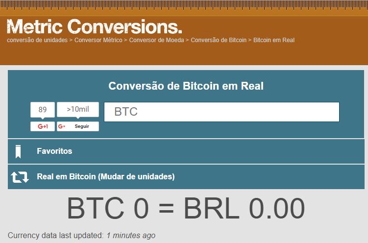 Conversor De Bitcoin Btc Para Real Brasileiro Brl