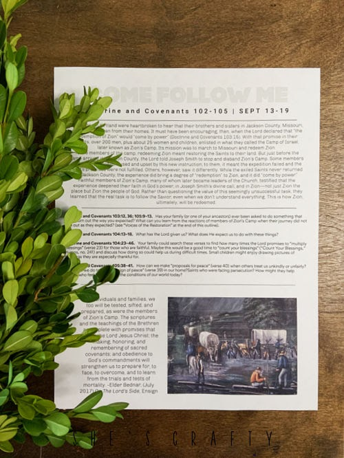 Come Follow Me Free Printable with boxwood clippings.