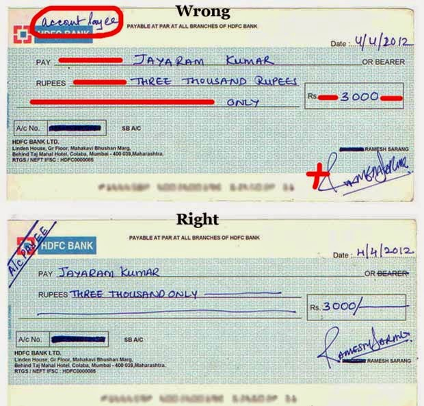 how to write a cheque india