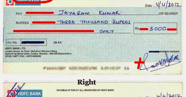 How to write a cheque in indian rupees
