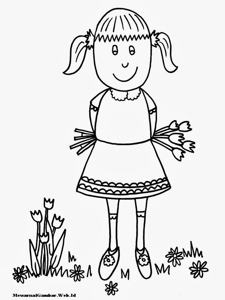 Mewarnai Gambar Kartun Anak Perempuan Muslimah | Azhan.co