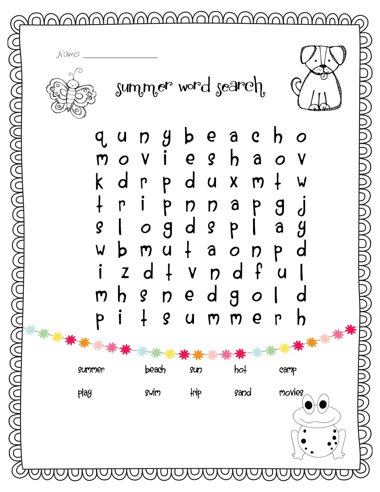 Temple S Teaching Tales New Freebie Summer Word Search