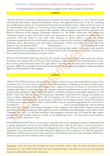 format of special resolution under section 186 of companies act 2013