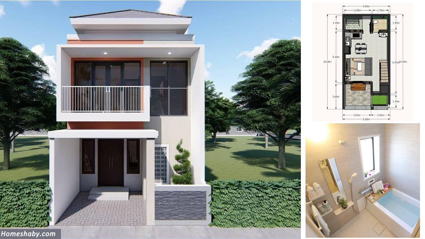 Desain Dan Denah Rumah Minimalis Modern 2 Lantai Ukuran 5 X 10 M Walaupun  Kecil Terdapat 3 Kamar Tidur Yang Homey ~ Homeshabby.com : Design Home  Plans, Home Decorating And Interior Design