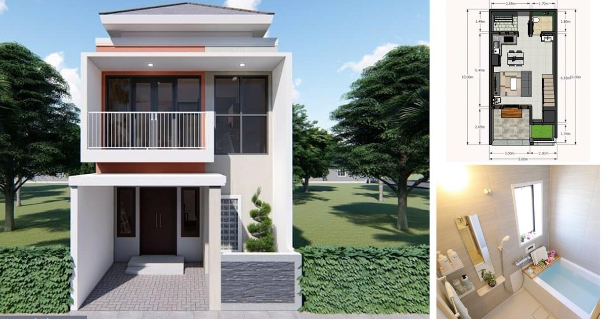 Desain dan Denah Rumah Minimalis Modern 2 Lantai Ukuran 5 ...