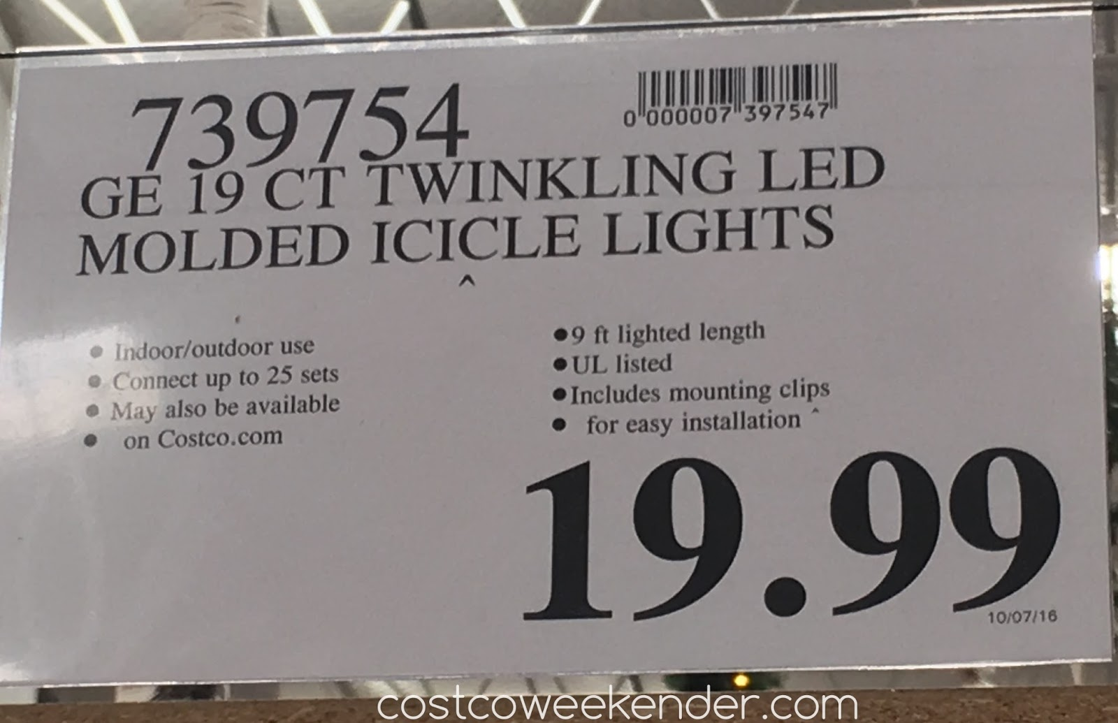 Costco 739754 - Deal for the GE Twinkling LED Molded Icicle Lights at Costco