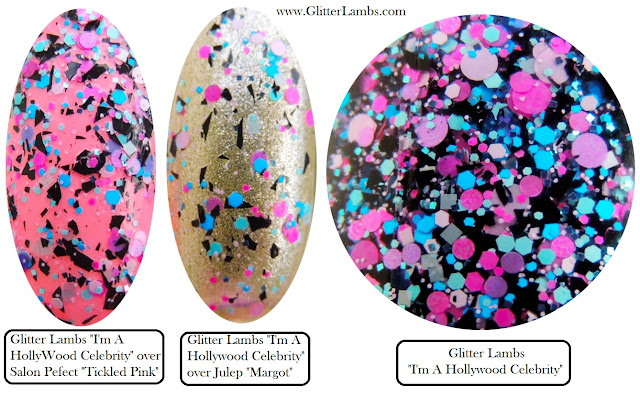 Indie Nail Polish, Custom Handmade Nail Polish, Glitter Shapes Nail Polish, Black Shreds, Pink Dots Circles, Blue Hex Cool Unique 2016 Amazing Nail Polishes Hollywood Celebrity