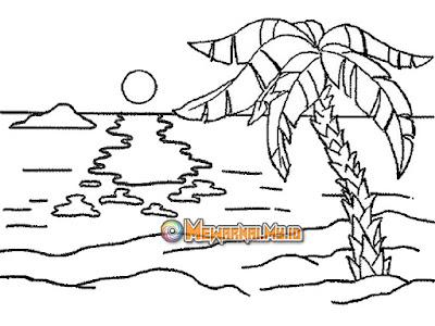 gambar pemandangan pantai untuk mewarnai